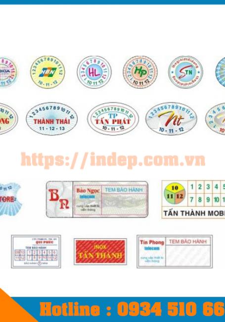 Bảng giá in tem bảo hành giá rẻ cập nhật 2018