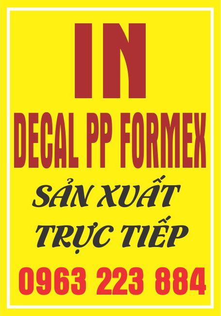 In Decal PP Bồi Formex