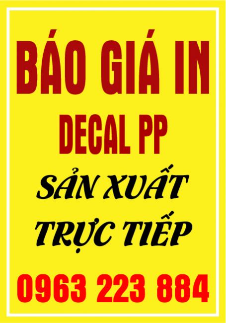 Bảng Giá In Decal PP