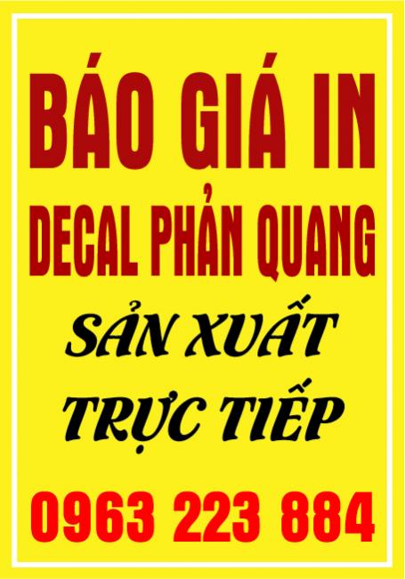 Bảng Giá In Decal Phản Quang
