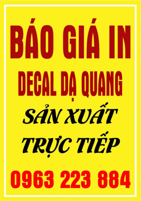 Báo Giá In Decal Dạ Quang