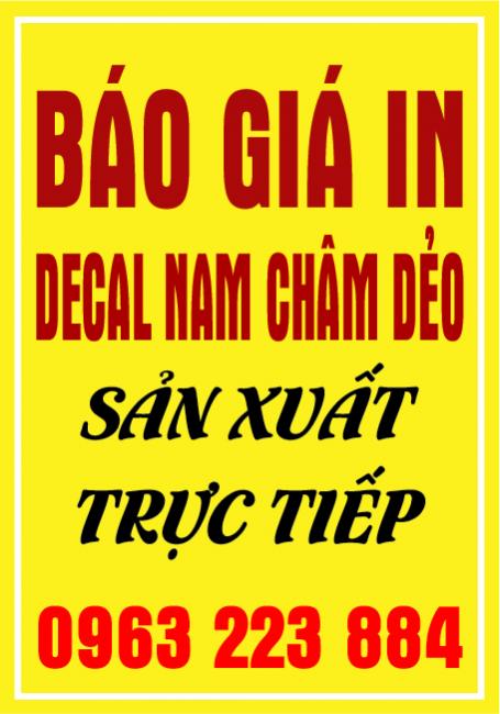 Bảng Giá In Decal Nam Châm