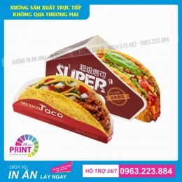 Ấn tượng với 10 mẫu hộp giấy đựng thức ăn như: bánh tacos, hot dog, cá viên, bò viên chiên...